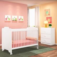 Quarto de Bebê Cômoda e Berço Ternura Branco - PN Baby