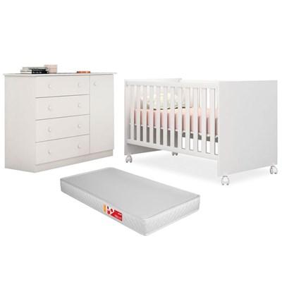 Quarto de Bebê Cômoda Helena e Berço Certificado pelo Inmetro Doce Sonho com Colchão Branco - Phoenix