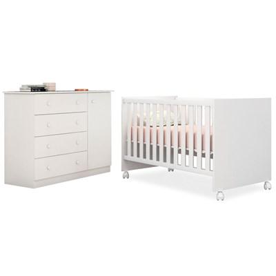Quarto de Bebê Cômoda Helena e Berço Doce Sonho Branco - Phoenix