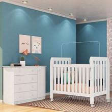 Quarto de Bebê Cômoda Helena e Berço Lollipop Branco - Phoenix