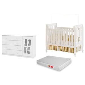 Quarto de Bebê Cômoda Letícia e Berço Lollipop com Colchão Branco - Phoenix