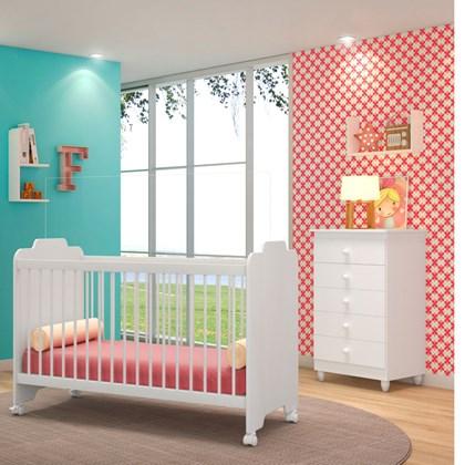 Quarto de Bebê Cômoda Vitória e Berço Certificado pelo Inmetro Ternura Branco - PN Baby