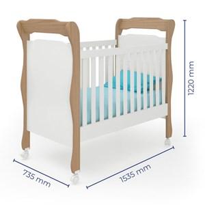 Quarto de Bebê Completo Amore 4 Portas e Berço Colonial Carvalho/Branco - Qmovi