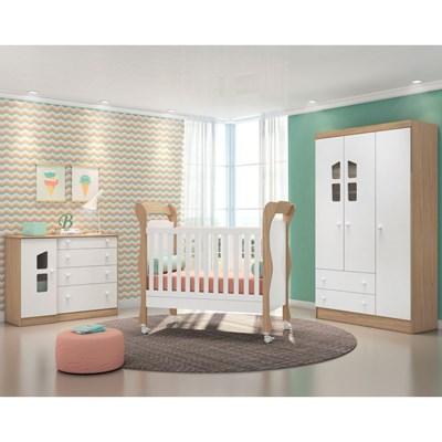 Quarto de Bebê Completo Amore 4 Portas e Berço Colonial Certificado pelo Inmetro Carvalho Rústico Toq/Branco - Qmovi