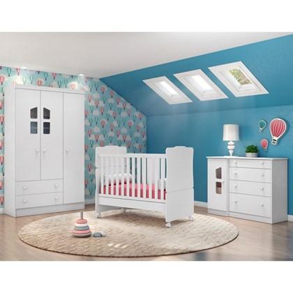 Quarto de Bebê Completo Amore 4 Portas e Berço Mini Cama Branco - Qmovi