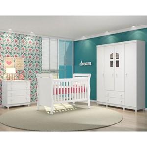 Quarto de Bebê Completo Amore e Berço Colonial Baby Branco/Janela - Qmovi