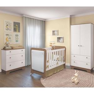 Quarto de Bebê Completo Carícia 2 Portas e Berço Tressê Branco/Almendra - Móveis Estrela