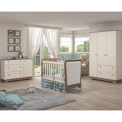 Quarto de Bebê Completo Carícia 4 Portas e Berço Botonê Off White/Almendra - Móveis Estrela