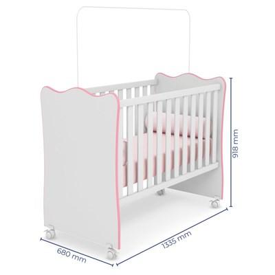 Quarto de Bebê Completo Certificado pelo Inmetro Doce Sonho 2 Portas e Berço Simples Branco/Rosa - Qmovi