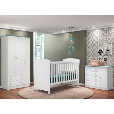 Quarto de Bebê Completo Certificado pelo Inmetro Doce Sonho e Berço 2484 Branco/Azul - Qmovi
