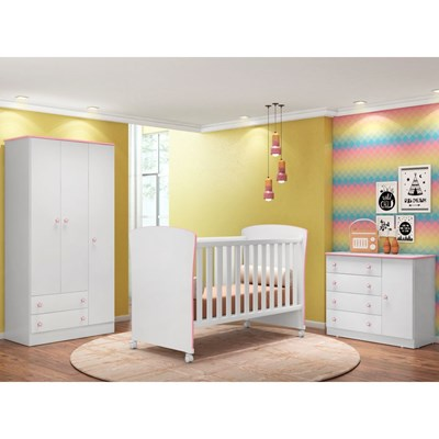 Quarto de Bebê Completo Certificado pelo Inmetro Doce Sonho e Berço 2484 Branco/Rosa - Qmovi