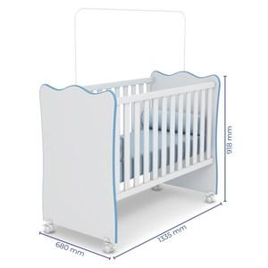 Quarto de Bebê Completo Doce Sonho 2 Portas e Berço Simples Branco/Azul - Qmovi