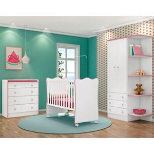 Quarto de Bebê Completo Doce Sonho 2 Portas e Berço Simples Branco/Rosa - Qmovi