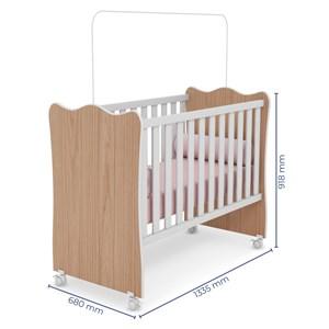 Quarto de Bebê Completo Doce Sonho 2 Portas e Berço Simples Carvalho/Branco - Qmovi
