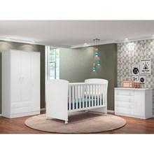 Quarto de Bebê Completo Doce Sonho e Berço 2484 Branco - Qmovi