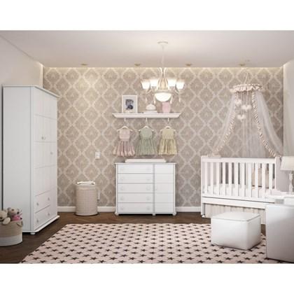 Quarto de Bebê Completo Fratelli e Berço Ninare Branco - Matic