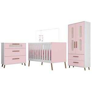 Quarto de Bebê Completo Retrô Bibi 2 Portas Branco/Rosa - Móveis Estrela
