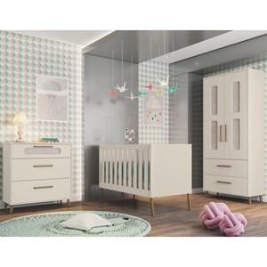 Quarto de Bebê Completo Retrô Bibi 2 Portas Off White - Móveis Estrela