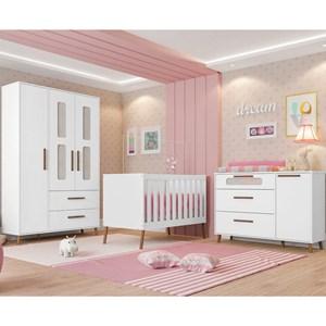 Quarto de Bebê Completo Retrô Bibi 4 Portas Branco - Móveis Estrela