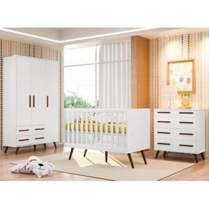 Quarto de Bebê Completo Retrô Branco - Qmovi