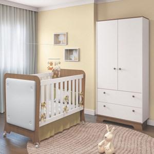 Quarto de Bebê Guarda Roupa 2 Portas e Berço Carícia Branco/Almendra - Móveis Estrela