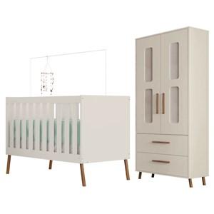 Quarto de Bebê Guarda Roupa 2 Portas e Berço  Retrô Bibi Off White - Móveis Estrela