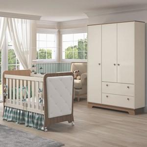 Quarto de Bebê Guarda Roupa 3 Portas e Berço Botonê Carícia Off White/Almendra - Móveis Estrela