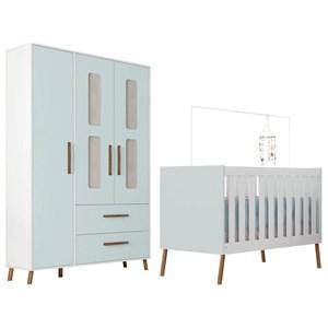 Quarto de Bebê Guarda Roupa 3 Portas e Berço Retrô Bibi Branco/Azul - Móveis Estrela