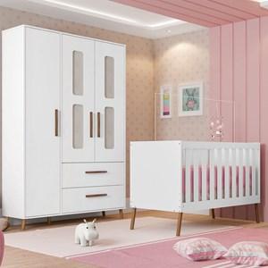 Quarto de Bebê Guarda Roupa 3 Portas e Berço Retrô Bibi Branco - Móveis Estrela