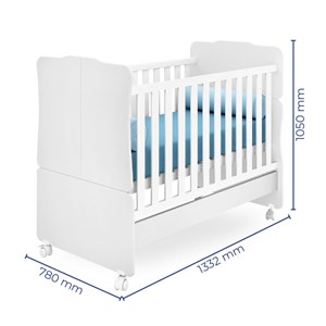 Quarto de Bebê Guarda Roupa Amore 3 Portas e Berço Carvalho Rústico Toq/Branco - Qmovi