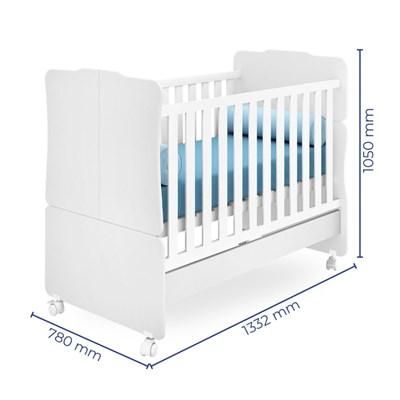 Quarto de Bebê Guarda Roupa Amore 3 Portas e Berço Certificado pelo Inmetro Branco - Qmovi