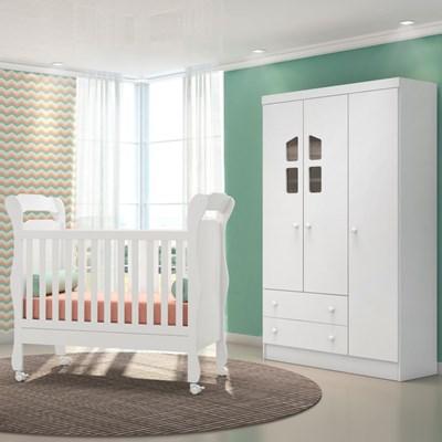 Quarto de Bebê Guarda Roupa Amore 3 Portas e Berço Colonial Certificado pelo Inmetro Branco - Qmovi