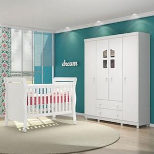 Quarto de Bebê Guarda Roupa Amore e Berço Colonial Baby Branco/Janela - Qmovi