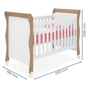Quarto de Bebê Guarda Roupa Amore e Berço Colonial Baby Carvalho/Branco Janela - Qmovi