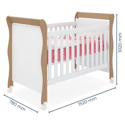 Quarto de Bebê Guarda Roupa Amore e Berço Colonial Baby Certificado pelo Inmetro Carvalho/Branco Janela - Qmovi
