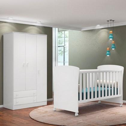 Quarto de Bebê Guarda Roupa Certificado pelo Inmetro Doce Sonho e Berço 2484 Branco - Qmovi