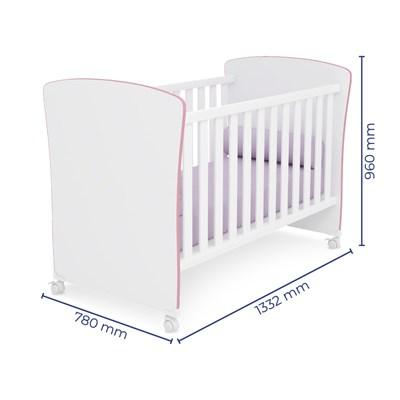 Quarto de Bebê Guarda Roupa Certificado pelo Inmetro Doce Sonho e Berço 2484 Branco/Rosa - Qmovi