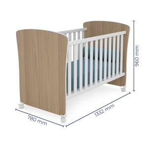 Quarto de Bebê Guarda Roupa Doce Sonho e Berço 2484 Carvalho/Branco - Qmovi