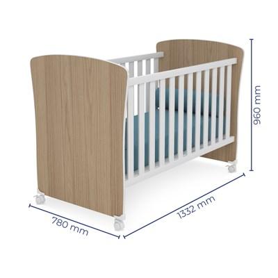 Quarto de Bebê Guarda Roupa Doce Sonho e Berço 2484 Certificado pelo Inmetro Carvalho/Branco - Qmovi