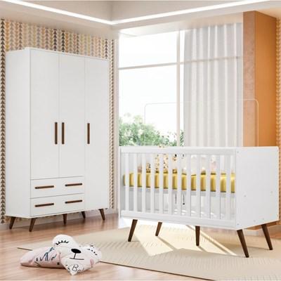 Quarto de Bebê Guarda Roupa e Berço Certificado pelo Inmetro Mini Cama Retrô Branco - Qmovi
