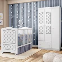 Quarto de Bebê Guarda Roupa e Berço Fantasy Branco/Capitonê - Móveis Estrela