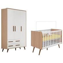 Quarto de Bebê Guarda Roupa e Berço Mini Cama Retrô Carvalho/Branco - Qmovi