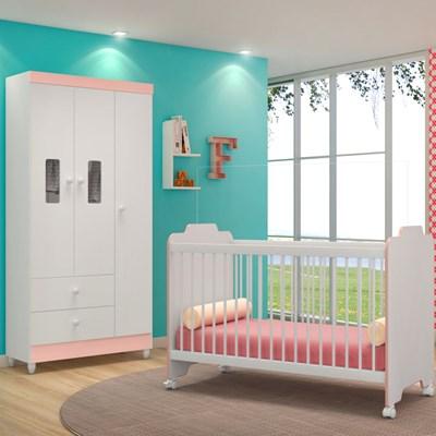 Quarto de Bebê Guarda Roupa Vitória e Berço Certificado pelo Inmetro Ternura Branco/Rosa - PN Baby