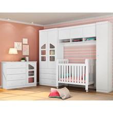 Quarto de Bebê Modulado Cômoda Eloísa e Berço Lollipop Branco - Phoenix Baby