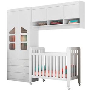 Quarto de Bebê Modulado Eloísa 5 Portas e Berço Lollipop Branco - Phoenix Baby