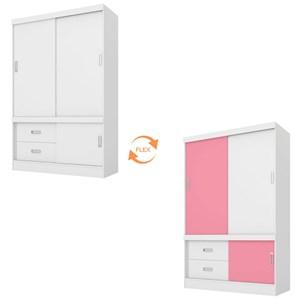 Quarto de Solteiro Completo Estilo II Branco/Rosa - Demóbile
