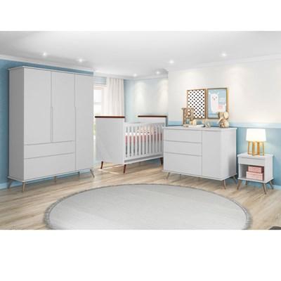 Quarto Infantil Completo Mel e Berço Mini Cama Wood com Colchão P04 Branco - Mpozenato