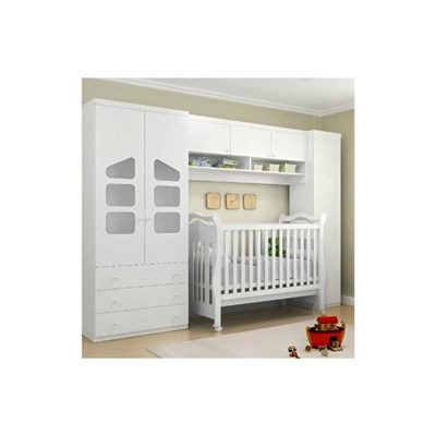 Quarto Infantil Eloisa com Berço Bambini Branco - Phoenix Baby