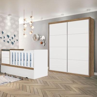 Quarto Infantil Guarda Roupa e Berço Premium Amêndoa/Branco - Planet Baby