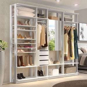Quarto Modulado Closet Clothes 4 Módulos Branco - BE Mobiliário